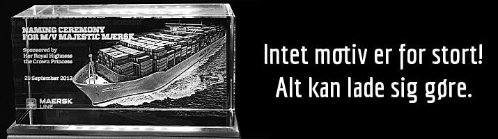 3D lasergravering i glas. Granitten, Allinge, Bornholm
